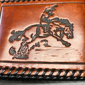 Other - Leather billfold and belt buckle.